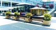 Banc public en béton et bois - Modèle avec assise double