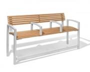 Banc public en bois et acier avec repose-pieds - 2 ou 4 accoudoirs