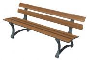 Banc public en bois stratifé - Dimensions (mm) : 180 x 75 x 44 -  62kg