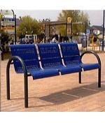 Banc public métal - Banc avec 3 sièges en plaques perforées. Dimension : (L x l x H) : 60 x 160 x 84 cm