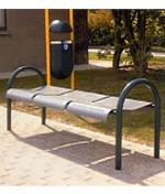 Banc public métal sans dossier - Banc avec 3 sièges sans dossiers en plaques perforées. Dimension : (L x l x H) : 60 x 160 x 68 cm
