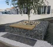 Banc tour arbre gabion - Assise bois en Pin CLIV ou Robinier sur entourage gabion