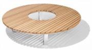 Banc tour d'arbre en bois exotique - Structure réalisée en plats d'acier galvanisé.