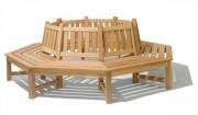 Banc tour d'arbre tout bois octogonal - En bois exotique ou en frêne brun