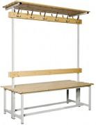 Banc vestiaire en bois et acier H 1800 - Dimensions extérieures (L x P x H) mm : De 1000 x 700 x 1800 à 2000 x 700 x 1800