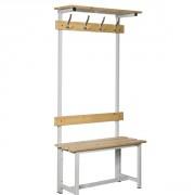 Banc vestiaire simple en bois et acier - - Matière : Bois et acier- Nombre de crochets : 4, 7 et 9- Hauteur : 1800 mm- Profondeur : 355 mm