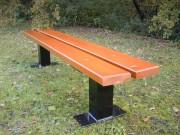 Banquette en bois avec pieds profilé acier - Dimensions (L x l ) : 200 x 37 cm