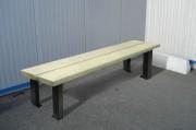 Banquette en bois piétement aluminium - Assise section 46 x 145 x 2000 mm