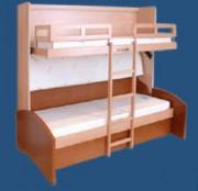 Banquette lits superposés à échelle encastrée - Mobilier Gain de Place