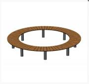 Banquette ronde piétement acier - Fabrication en arrondie en compact rainuré effet lames