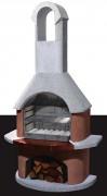 Barbecue à reserve de bois - Dimensions (H x L x P) : 203 x 110 x 65 cm