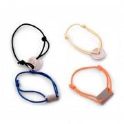 Barcelet publicitaire brésilien - En métal, finition nickel satin sans couleur + cordon coton avec 2 nœuds de réglage