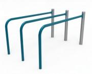 Barres parallèles triple - Acier galvanisé plastifié - Hauteur : 1000 mm