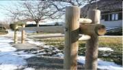 Barrière coulissante bois - 4 Modèles : Rond 1 ou 2 lisses - Forestier - Madrier