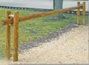 Barrière coulissante bois passage de 3m50 - Dimensions lisse : 4 m L x 12 Ø cm