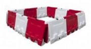 Barrière de balisage lestable - En plastique - En blanc et rouge