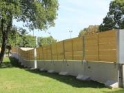 Barrière de chantier 3 en 1 - Stabilisateur et cadre métallique (Lxlxh) : 300 x 60 x 200 cm