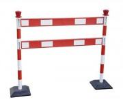 Barrière de chantier avec poteaux en pvc - 2 poteaux PVC -  2 barrières en PVC