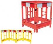 Barrière de chantier plastique pliante - Disponible en version 3 ou 4 portes