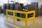 Barrière de protection modulable pour extérieur - Matière : Acier galvanisé et revêtu - Longueur : 100 à 150 cm - Coloris : jaune