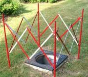 Barrière plastique de chantier - Dimensions dépliées : 1,3 m - Hauteur : 1 m