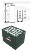 Batteries voiturettes golf 560 Ah - Ah (C5): 560 - norme DIN (EPZS) & US - 4 EPZS 560 L