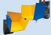 Benne à fond incliné à porte frontale - Capacité : de 500  à 1860 litres