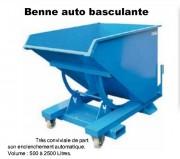 Benne auto basculante déchets industriels - Volumes de 500 à 2500 litres et sur-mesure