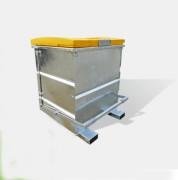 Benne avec couvercle polyéthylène pour chariot - Charge admissible 1500 kg  -  Vidage intégral par retournement