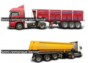 Benne semi remorque - Semi remorques sur-mesure adaptable sur tout type de véhicule