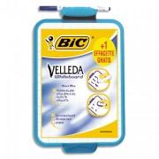 BIC Ardoise effaçable à sec format 19x26 cm avec 1 feutre pointe fine coloris bleu VELLEDA - Bic