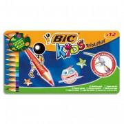 BIC Boîte en métal de 12 crayons de couleur 17,5cm assortis EVOLUTION - Bic Kids