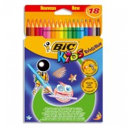 BIC Etuis carton de 18 crayons de couleur 17,5cm assortis EVOLUTION - Bic Kids