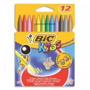 BIC Pochette de 12 craies plastique de coloriage diamètre 8 mm x longueur 12 cm CONTE PLASTIDECOR - Bic Kids