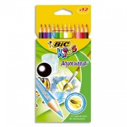 BIC Pochette plastique de 12 crayons de couleur aquarellable 17,5cm assortis AQUACOULEUR - Bic Kids
