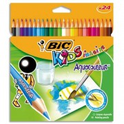 BIC Pochette plastique de 24 crayons de couleur aquarellable 17,5cm assortis AQUACOULEUR - Bic Kids