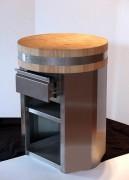 Billot sur piétement inox - Dimensions : Ø 60 cm x Haut. 85 ou 90 cm