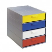 Bloc 4 plateaux à tiroirs - Dimensions extérieures L x l x H (mm) : 365 x 266 x 310