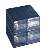 Bloc 4 tiroirs en polypropylène - Dimensions extérieures : 208x222x208 mm