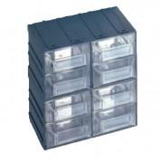 Bloc tiroirs transparents en polypropylène - Dimensions extérieures : 208x132x208 mm