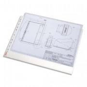Boîte 50 pochettes perforées A3 paysage polypropylène 75µ grainée, perforation universelle 11 trous - Leitz