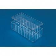 Boite à séparation en polystyrène cristal - Dimensions extérieures (L x l x H) mm : 290 x 140 x 42 ou 290 x 140 x 92