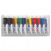 Boite cristal de 10 tubes 10ml de gouache fine assortis - GIOTTO
