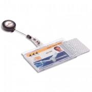 boite de 10 kit porte cartes transparent + enrouleur noir - Durable