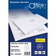 Boite de 100 étiquettes multi-usage blanches 210X297mm OS43478 - Office Star