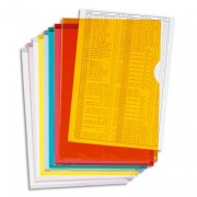 Boîte de 100 pochettes coin en PVC 14/100 ème. Coloris orange. - Exacompta