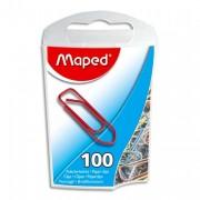 Boite de 100 trombonnes en acier laqué 25mm coloris assortis - Maped