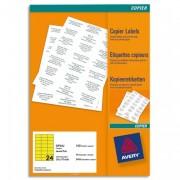 Boîte de 2400 étiquettes copieur 70X35 jaune fluo DP24J-100 - Avery