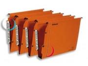 Boîte de 25 dossiers suspendus LMG pour armoire en kraft orange 240g fond 15, bouton-pression - Esselte