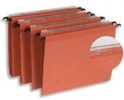 Boîte de 25 dossiers suspendus pour tiroir en kraft orange 210g fond 30, volet d agrafage - Esselte